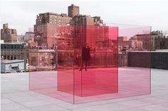 Dont' miss Larry Bell's new work 'Pacific Red' featured in the Whitney Biennial 2017 opening today. – Composed of inner and outer squares in vary Angela Carter, California Art, Light And Space, Red Art, Pink Parties, Environmental Design, Studio Shoot, Experiential, Public Art