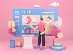 AIclass designed by Grejory for Connect with them on Dribbble; the global community for designers and creative professionals. Character Design Animation, 3d Character, Digital Illustration, Graphic Illustration, 3d Poster, 3d Artwork, Web Design, Graphic Design Posters, Layout Inspiration