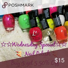 Daily wednesday special 5@$15.00 Mis an match. Look under make up/lipstick for all mix an match nail polish in my closet.  Plz include number on bottles an state high shine or jel in comments an hit buy. Pick the colors to match your sweater. Happy poshing Sweaters