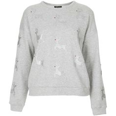 TOPSHOP Reindeer Christmas Sweat ($11) ❤ liked on Polyvore featuring tops, hoodies, sweatshirts, sweaters, shirts, buzos, jumpers, grey, grey sweatshirt and grey shirt
