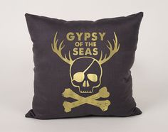 Gypsy of the seas Cotton throw Pillow Cover  16x16 by Daneeyo