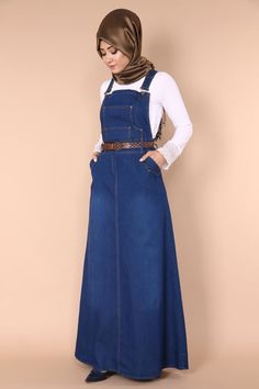 Jumpsuit in the from of hijaab Islamic Fashion, Muslim Fashion, Modest Fashion, Abaya Fashion, Fashion Wear, Denim Fashion, Modest Outfits, Stylish Outfits, Denim Overall Dress