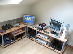 Nice retro video game console corner - gaming room.