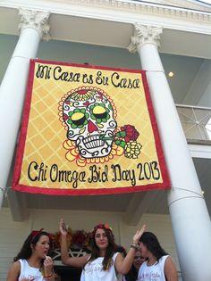 ΧΩ bid day banner Dia de Los Chios CHI OMEGA