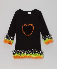 Take a look at this Black Polka Dot Heart Ruffle Dress - Infant, Toddler & Girls by Diva Daze on #zulily today!
