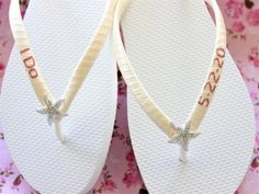 I do flip flops for bride. Rose Gold glitter save the date sandals. Bridal shower gift for bride getting ready on her wedding day. Bride Shoes, Wedding Shoes, Wedding Bride, Bridal Shower Gifts For Bride, Bride Gifts, Small Bridal Parties, Wedding Flip Flops, Hot Pink Weddings, Honeymoon Gifts