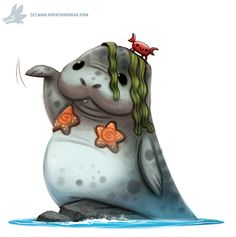 Cute art Daily Paint Man-maid-a-tee by Cryptid-Creations on DeviantArt Cute Animal Drawings, Kawaii Drawings, Cute Drawings, Cartoon Art, Cute Cartoon, Sea Cow, Animal Puns, Cute Creatures, Cute Illustration