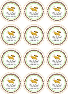 Lion King Baby Shower Centerpieces | Lion King Printable Cupcake Toppers or Tags by jennya309 on Etsy