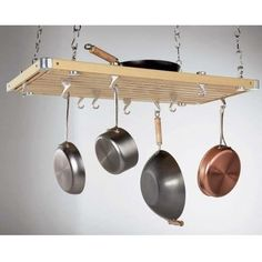 Rectangular Ceiling Mounted Pot Racks made from natural wood, provided with aluminum hooks, suspended by dual track system. Kitchen pot racks by concept warehouses are high quality wooden pot racks - ceiling pot racks, rectangular pot racks Kitchen Wall Shelves, Kitchen Rack, Kitchen Stove, Wall Mounted Shelves, Diy Kitchen, System Kitchen, Kitchen Ideas, Kitchen Wood, Kitchen Pantry