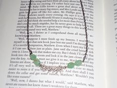 Gunmetal chain, green glass beads, fern leaf from L'Abeille bead shop
