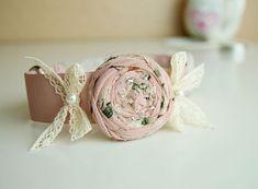 Vintage pink dog collar, beautiful silk weddings dog collar, handmade  flower collar