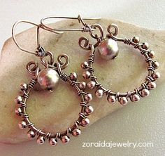 Sterling Bead Wire Wrapped Earrings     zoraida - Jewelry on ArtFire