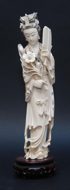 CHINESE CARVED AFRICAN IVORY MAIDEN FIGURE