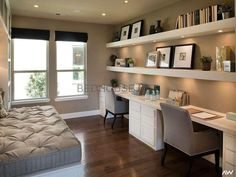Love this for a home office and guest room. Work Space Whit… Love this for a home office and guest room. Work Space White Modern feminine home office decor. Home decor, office decor, office decor inspiration, office ideas, o Home Office Space, Home Office Design, Home Office Decor, House Design, Home Decor, Office Designs, Office Room Ideas, Office Spaces, Spare Room Study Ideas