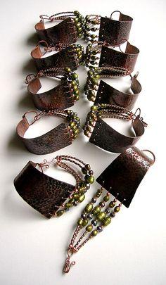 48 Ideas Jewerly Making Copper Cuff Bracelets Copper Cuff, Copper Jewelry, Leather Jewelry, Wire Jewelry, Jewelry Crafts, Jewelry Art, Beaded Jewelry, Jewelery, Jewelry Accessories