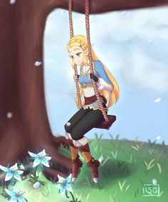 Swing by IsabellaMagic on DeviantArt Princesa Zelda, Xenoblade Chronicles, Twilight Princess, Breath Of The Wild, Super Smash Bros, Skyrim, Legend Of Zelda, All Art, Video Game