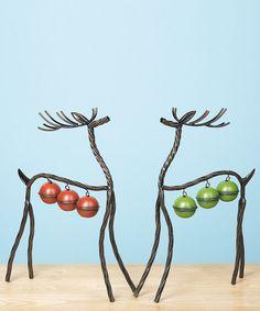 Metal Bell Reindeer Statue Set | zulily