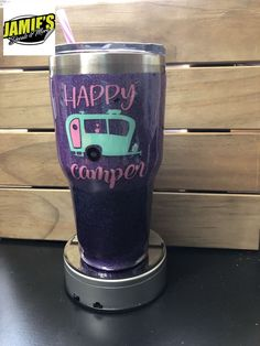 Happy Camper Glitter Tumbler - Bling Tumbler -Made to Order Mom Tumbler, Coffee Tumbler, Tumbler Cups, Vinyl Tumblers, Custom Tumblers, Glitter Tumblr, Glitter Crafts, Painted Cups, Yeti Cup