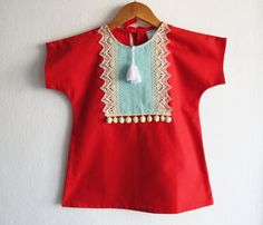 Red Baby Girl Dress/Boho Chic Beach Tunic/Children's Clothing/ Baby Clothes/ Toddler Dress/Pom Pom/Size: 6-12,12-18,18-24 months,2T,3T