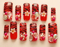 Japanese 3D nails Akina zebra printed red long nails by Aya1gou, $20.80