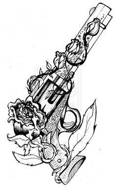 drawings of guns | Cool Drawings Of Guns And Roses Tagged with gun, rose, tattoo,