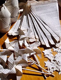 Newspaper or book pinwheels for a party