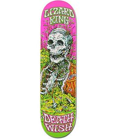 """Skate like the living dead with the Deathwish Lizard King Buried Alive 8.25"""" skateboard deck. This Lizard King Buried Alive 8.25"""" pro model skateboard deck has a signature Lizard King skeleton graphic with a bright green Lizard King script and Deathwish s"""