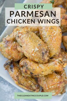 Parmesan Chicken Wings are an easy, delicious keto appetizer! Keep them paleo/Whole30 without the cheese. Either way they're crispy, healthy and flavorful! Baked in the oven or grilled - these wings are delicious! Healthy Grilled Chicken Recipes, Chicken Appetizers, Chicken Wing Recipes, Healthy Appetizers, Appetizer Recipes, Healthy Snacks, Dinner Recipes, Dinner Ideas, Healthy Eating
