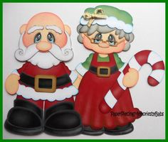 Santa & Mrs. Claus Christmas Wood, Christmas Pictures, Christmas Holidays, Christmas Yard Decorations, Christmas Drawing, Christmas Crafts, Christmas Ornaments, Paper Piecing Patterns, Jingle All The Way
