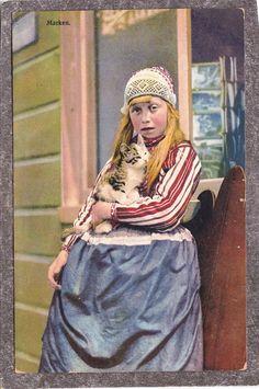 Dutch girl antique cat native dress cap costume Netherlands MARKEN Postcard