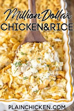 Million Dollar Chicken & Rice Casserole - This is our go-to chicken casserole! SO easy to make and tastes like a million bucks! Chicken, rice, cream cheese, cottage cheese, sour cream, onion, garlic, cream of chicken soup, topped with crushed Ritz crackers and butter. Can make this casserole in advance and refrigerate or freeze for later. #chicken #casserole #chickencasserole #ritzcrackers Plain Chicken Recipe, Easy Chicken And Rice, Cream Of Chicken Soup, How To Cook Chicken, Chicken Recipes, Easy Chicken Rice Casserole, Chicken Bacon Pasta, Cracker Chicken, Hamburger Casserole