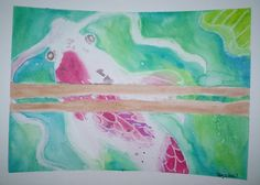 watercolor of koi under branch in pond  approximately 9x12  you will be getting…