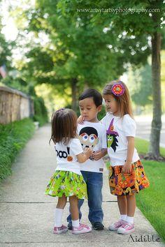 Vampire Halloween Tshirt Boy Applique Shirt Tee with Pumpkin Skull Bow Tie Long or Short Sleeved