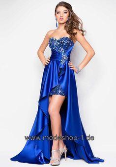 cb7ebeecf1f Vokuhila Abend Kleid Sapphire Blau von www.modeshop-1.de Ballkleid