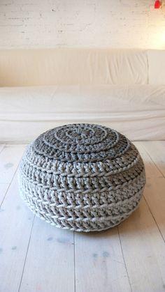 Giant Floor Cushion Crochet  Thick Cotton  Three por lacasadecoto, €85.00