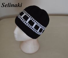 Knit Filmstrip Hat Film Roll Beanie Black and White