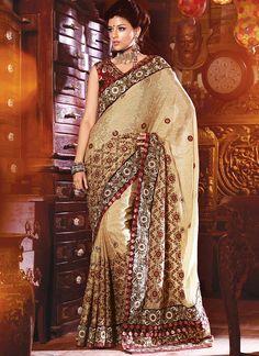 Cream Colored Designer Saree