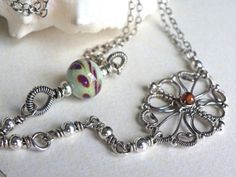 Necklace handmade wire wrapped sterling by lesbijouxdeSylvie, $125.00
