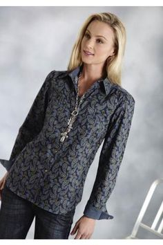 Roper Mod Paisley Ladies Amarillo Collection - Forest Lake Long Sleeve Urban