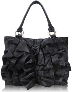 unique handbags | ... Designer Handbags - Ladies Black Rose Ruffle Tote Shoulder Handbag