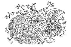 Free Scanned Hand Drawn Doodle Coloring Page to print at home or color online Doodle Coloring, Coloring Pages To Print, Adult Coloring Pages, Free Online Coloring, Hand Drawn Flowers, Flower Doodles, Vector File, Zentangle, Free Printables