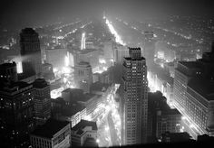 Detroit and the industrial region surrounding it, was plunged into semi-darkness as all except street lights and in war factories went out for fifteen minutes during a blackout drill on May 4, 1942.