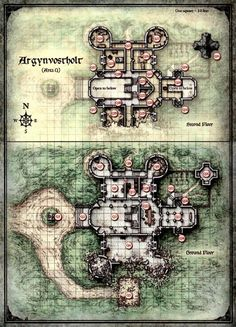 Curse of Strahd - Map of Argynvostholt - Lower Levels