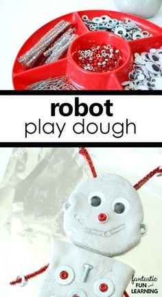 Robot Play Dough Invitation for Letter R Preschool Activities