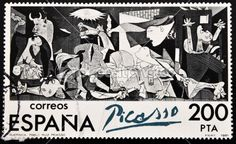 Picture of SPAIN - CIRCA A stamp printed in Spain shows painting by Pablo Picasso 'Guernica', circa 1981 stock photo, images and stock photography. Pablo Picasso, Picasso Guernica, Picasso Drawing, Postage Stamp Design, Postage Stamps, Bombing Of Guernica, Most Popular Artists, Peace Art, Spain