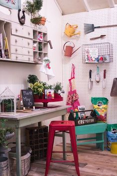 Well Organised Garden Shed With Work Bench And Stool