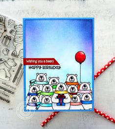 Sunny Studio Stamps: Playful Polar Bears Winter Themed Birthday Party Card by Vanessa Menhorn It's Your Birthday, Birthday Party Themes, Birthday Cards, Cute Polar Bear, Polar Bears, Sunnies Studios, Bear Card, Winter Theme, Scrapbook Cards