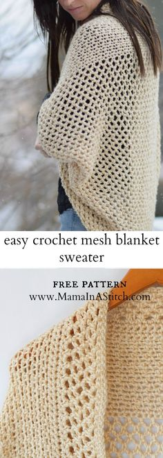 Mod Mesh Honey Blanket Sweater - Mod Mesh Honey Blanket Sweater Free crochet sweater cardigan pattern that includes tutorials and pictures to help from Mama In A Stitch Cardigan Au Crochet, Gilet Crochet, Crochet Jacket, Crochet Scarves, Crochet Clothes, Crochet Stitches, Knit Crochet, Sweater Cardigan, Crochet Sweaters