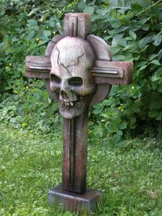 A great use for small foam scraps is to bang out some crosses. I made this one over the weekend with nothing more than a plastic skull mask, some scraps, spray paint and a handful of screws. Enjoy. Thanks kevin 242 from HF