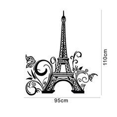 """Tall Eiffel Tower Wall Decal Huge Paris City Sticker Decor Wall Sayings Decal Vinyl Wall Art Words Lettering Quotes Mural Art Room Home- Size 23.6"""" X 42.5"""""""